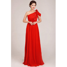 Affordable Designer One Shoulder Chiffon Floor Length Sheath Bridesmaid Dress