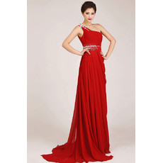 Affordable One Shoulder Chiffon Sheath Sweep Train Bridesmaid Dress