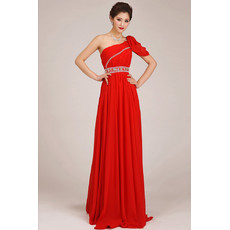 Affordable One Shoulder Chiffon Sweep Train Sheath Bridesmaid Dress for Girls
