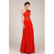 Simple Modest One Shoulder Chiffon Long A-Line Bridesmaid Dress for Girls