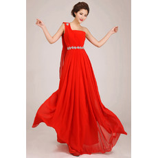 Simple One Shoulder Chiffon A-Line Floor Length Wedding Bridesmaid Dress for Girls