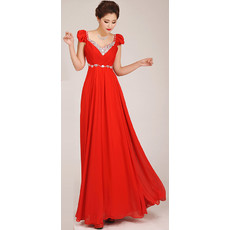 Modest Cap Sleeves A-Line Chiffon Floor Length Bridesmaid Dress for Girls
