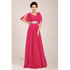 Designer Modest Cap Sleeves Chiffon Sweep Train A-Line Bridesmaid Dress for Girls