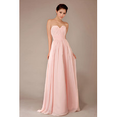 Simple Modest Chiffon Sweetheart Floor Length A-Line Bridesmaid Dress for Girls