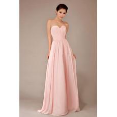 Simple Modest Chiffon Sweetheart Floor Length A-Line Bridesmaid Dress for Girls
