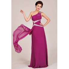 Modest One Shoulder Chiffon Floor Length Sheath Bridesmaid Dress for Girls