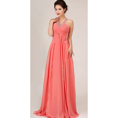 Modest A-Line Halter Long Chiffon Bridal Bridesmaid Dress for Wedding Party