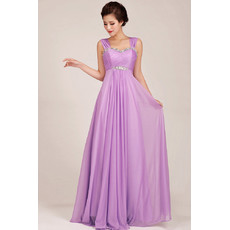Modest Chiffon Empire Straps Floor Length Bridesmaid Dress for Girls