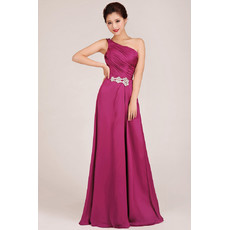 Modest One Shoulder A-Line Floor Length Chiffon Bridesmaid Dress for Girls
