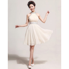 Pretty Designer Halter Chiffon Short A-Line Formal Cocktail Dress for Women