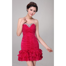 Designer Pleated Sheath/ Column Short Strapless Chiffon Cocktail Dress