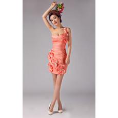 Custom One Shoulder Sheath/ Column Short Satin Cocktail Dress for Women