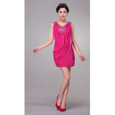 Beautiful Designer Column V-Neck Short Satin Chiffon Formal Cocktail Dress