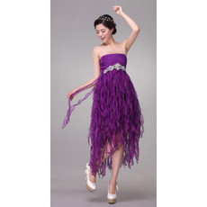 Beautiful Designer Draped Empire Strapless Tea Length Organza Dress for Cocktail Party