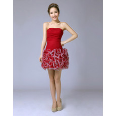 Discount Modern Column/ Sheath Bubble Skirt Strapless Short Cocktail Dress