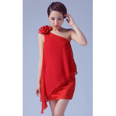 Beautiful Designer One Shoulder Column Short Chiffon Cocktail Dress