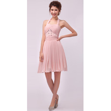 Women's Elegant and Beautiful A-Line Halter Chiffon Short Formal Cocktail Dress