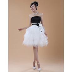 Women's A-Line Strapless Knee Length Tulle Formal Cocktail Dress