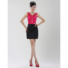 Women's Sheath/ Column V-Neck Short Satin Formal Cocktail Dress