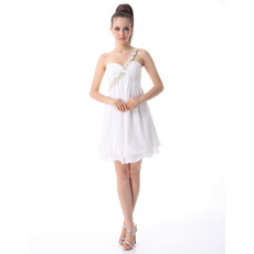 Affordable One Shoulder Chiffon Empire Short Formal Dress for Cocktail Party