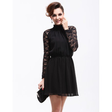 Modern Classy Long Lace Sleeves Short Sheath Chiffon Cocktail Dress for Women