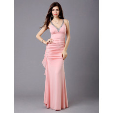 Sexy Sheath Chiffon V-Neck Floor Length Evening Prom Dress for Women and Girls