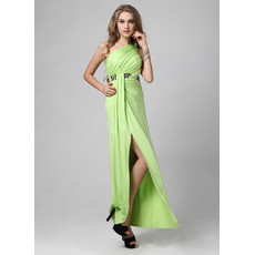 Chic Sexy One Shoulder Satin Sheath Floor Length Evening Dress for Women and Girls