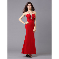 Mermaid/ Trumpet V-Neck Satin Ankle Length Evening Dress for Women and Girls