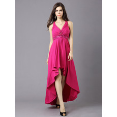 Designer Sexy High-Low V-Neck High Waist Satin Prom Evening Dress for Women and Girls