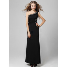 Sexy One Shoulder Black Sheath Floor Length Satin Evening Dress for Women and Girls