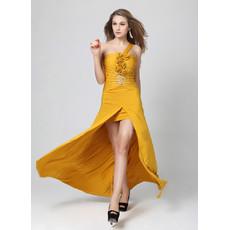 Beautiful One Shoulder Sheath/ Column Split Satin Long Prom Evening Dress for Girls