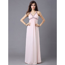 Sexy Column/ Sheath Chiffon Straps Floor Length Prom Evening Dress for Women and Girls