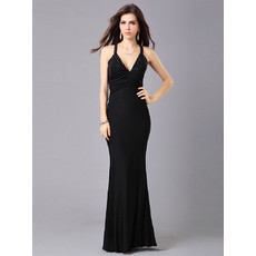 Sheath/ Column V-Neck Chiffon Floor Length Formal Evening Dress for Prom