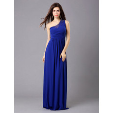 Affordable Elegant One Shoulder Chiffon Column Floor Length Evening Dress