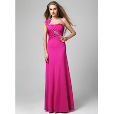Affordable Chic One Shoulder Sheath/ Column Floor Length Satin Evening Dress