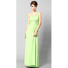 One Shoulder Sheath/ Column Ankle Length Satin Formal Evening Dress