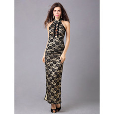 Affordable Lace Sheath Mandarin Collar Ankle Length Formal Evening Dress