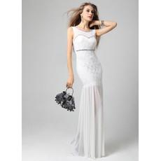 Affordable Mermaid/ Trumpet Chiffon Lace Full Length Evening Dress