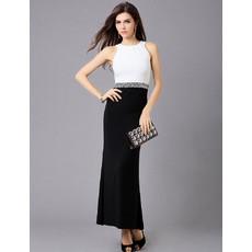 Women's Elegant Sheath/ Column Ankle Length Satin Formal Evening Dress