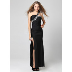 Beautiful One Shoulder Sheath Floor Length Black Formal Evening Dress For Women and Girls