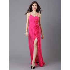 Beautiful Classy Sheath Spaghetti Straps Chiffon Floor Length Evening Dress for Women