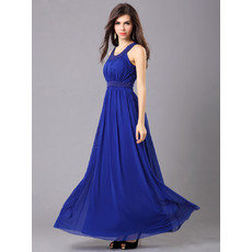 Inexpensive Elegant Chiffon Round Ankle Length A-Line Blue Maxi Evening Dress for Prom