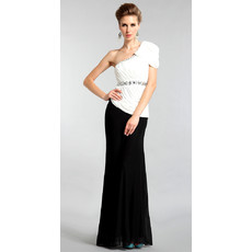 Inexpensive Elegant One Shoulder Mermaid Chiffon Floor Length Evening Dress for Women