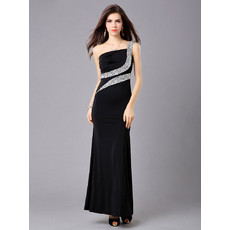 Inexpensive Elegant One Shoulder Sheath Satin Ankle Length Evening Dress for Prom