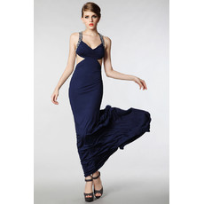 Women's Sexy Sheath Straps Satin Sweep Train Evening Dress for Prom