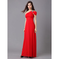 Affordable Women's Elegant One Shoulder Chiffon Floor Length Sheath Evening Dress