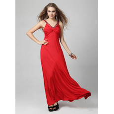 Classic V-Neck Red Satin Sheath Floor Length Evening Dress for Women