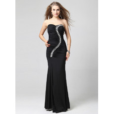 Inexpensive Elegant Sheath Sweetheart Floor Length Satin Black Evening Dress for Prom