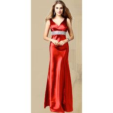 Inexpensive V-Neck Sheath Taffeta Floor Length Evening Dress for Women