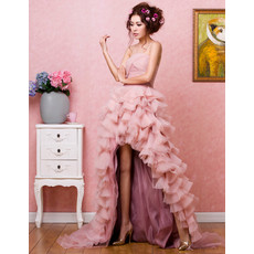 Stylish High-Low Organza Strapless A-Line Prom Evening Dress for Women